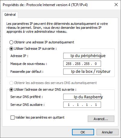 configuration carte réseau Dns Pi-hole